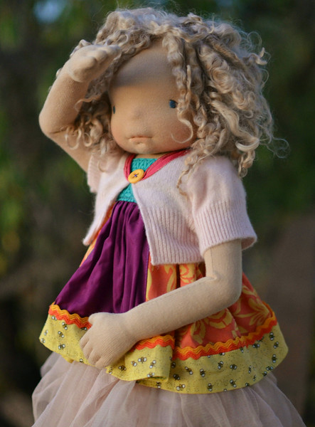 """Talia"" a semi custom Wood & Wool poseable doll"