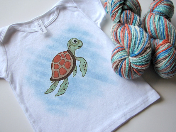 "Collab with Debutante Yarns <br> ""Under the Sea"" Size 18-24 months <br>w/ free buttons!"